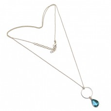 925 Sterling Silver Pear Shape Blue Topaz Gemstone Bezel Setting Necklace Jewelry