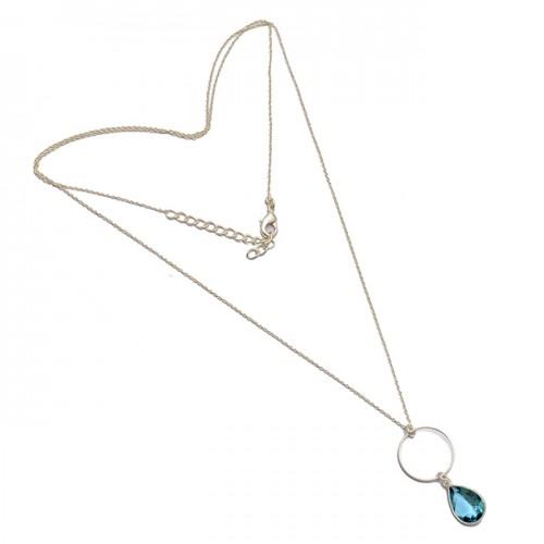 925 Sterling Silver Pear Shape Blue Topaz Gemstone Bezel Setting Necklace Jewelry
