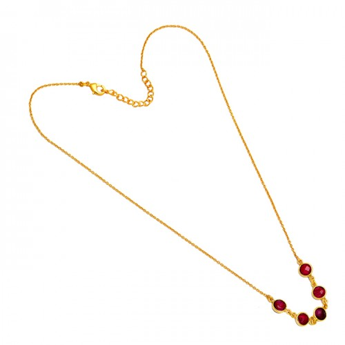 Round Shape Garnet Gemstone 925 Sterling Silver Gold Plated Handmade Necklace
