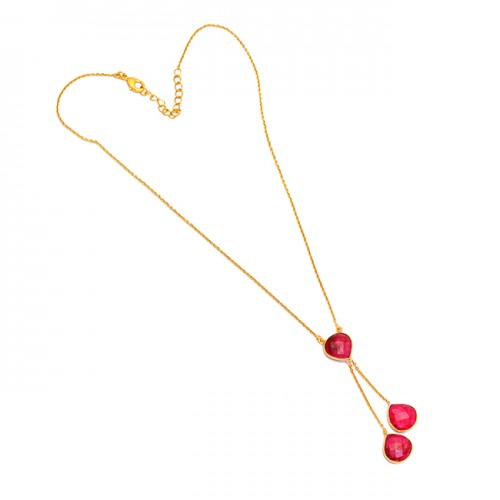 Heart Shape Ruby Gemstone 925 Sterling Silver Gold Plated Designer Necklace Jewelry