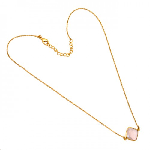 Rose Quartz Square Shape Gemstone 925 Sterling Silver Gold Plated Handmade Necklace