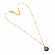 Hexagon Shape Labradorite Gemstone 925 Sterling Silver Gold Plated Necklace Jewelry