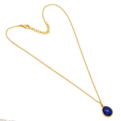 Oval Shape Lapis Lazuli Gemstone 925 Sterling Silver Gold Plated Handmade Necklace