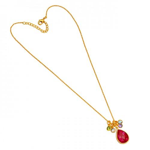 925 Sterling Silver Multi Color Gemstone Handcrafted Designer Gold Plated Necklace