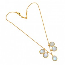 925 Sterling Silver Oval Shape Rainbow Moonstone Gold Plated Designer Necklace Jewelry