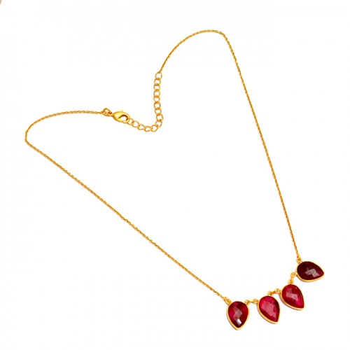 Latest Designer Pear Shape Ruby Gemstone 925 Sterling Silver Gold Plated Necklace