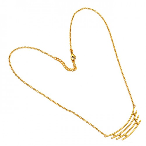 925 Sterling Silver Plain Handmade Designer Gold Plated Latest Necklace Jewelry