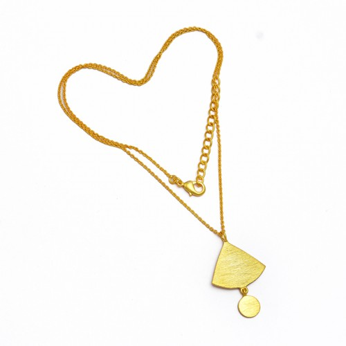 Handcrafted Designer Plain 925 Sterling Silver Gold Plated Unique Necklace Jewelry