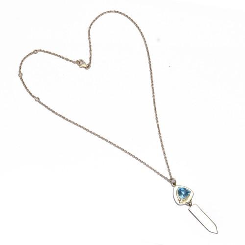 925 Sterling Silver Blue Topaz Triangle Shape Gemstone Designer Necklace Jewelry