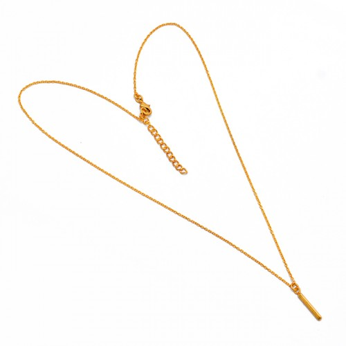 925 Sterling Silver Plain Latest Designer Gold Plated Handmade Necklace Jewelry