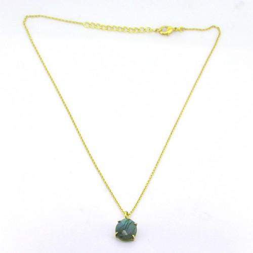 Oval Shape Labradorite Gemstone 925 Sterling Silver Gold Plated Designer Necklace