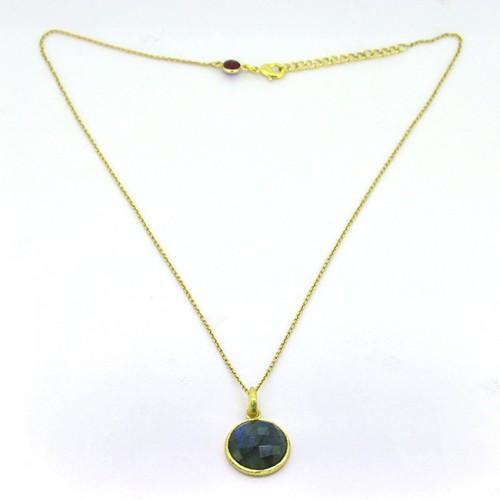 Round Shape Labradorite Gemstone 925 Sterling Silver Gold Plated Designer Necklace