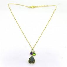 Multi Color Gemstone 925 Sterling Silver Gold Plated Handmade Designer Necklace
