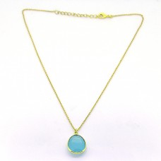 Oval Shape Aqua Color Chalcedony 925 Sterling Silver Gold Plated Designer Necklace