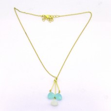 Moonstone Chalcedony Gemstone 925 Sterling Silver Gold Plated Designer Necklace