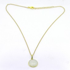 925 Sterling Silver Rainbow Moonstone Gemstone Gold Plated Designer Necklace
