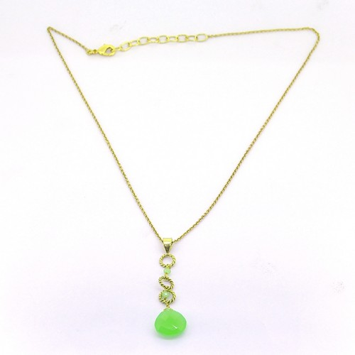 Pear Round Shape Chalcedony Gemstone 925 Sterling Silver Gold Plated Necklace