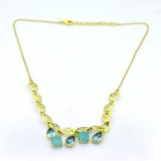 Blue Topaz Chalcedony Gemstone 925 Sterling Silver Gold Plated Designer Necklace