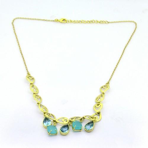 Blue Topaz Chalcedony Gemstone 925 Sterling Silver Gold Plated Designer Necklace