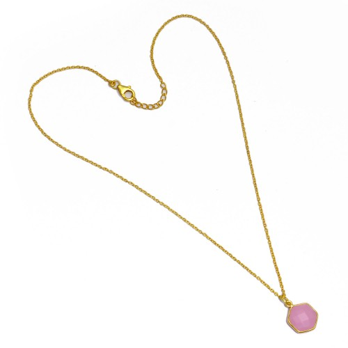 Hexagon Shape Rose Chalcedony Gemstone 925 Sterling Silver Gold Plated Necklace Jewelry