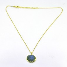 Labradorite Round Shape Gemstone 925 Sterling Silver Gold Plated Designer Necklace
