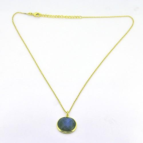 Labradorite Round Shape Gemstone 925 Sterling Silver Gold Plated Designer Necklace