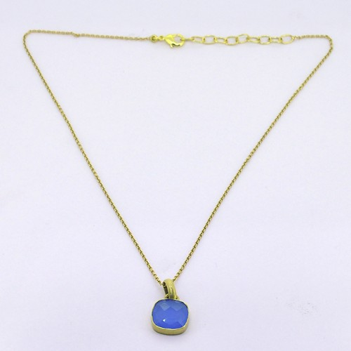Blue Chalcedony Square Shape Gemstone 925 Sterling Silver Gold Plated Necklace