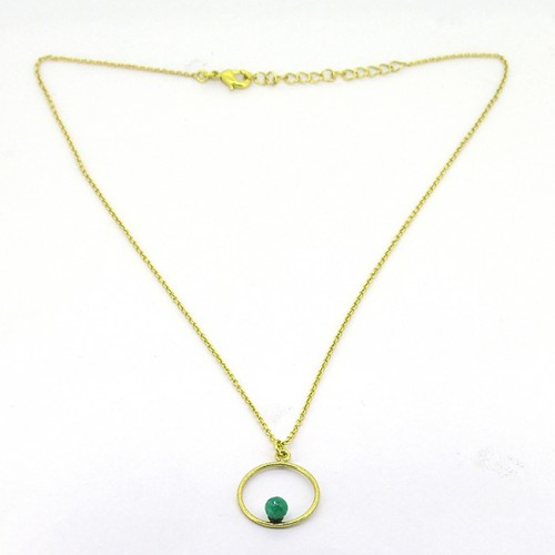 Round Shape Green Onyx Gemstone 925 Sterling Silver Gold Plated Designer Necklace