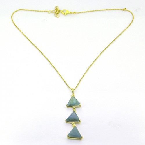 Triangle Shape Labradorite Gesmtone 925 Sterling Silver Gold Plated Handmade Necklace