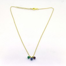 Ruby Sapphire Green Onyx Gemstone 925 Sterling Silver Gold Plated Designer Necklace