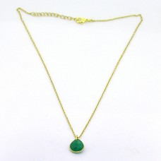 925 Sterling Silver Pear Shape Green Onyx  Gemstone Gold Plated Necklace Jewelry