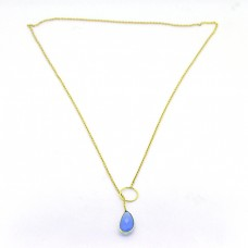 Pear Shape Blue Chalcedony Gemstone 925 Sterling Silver Gold Plated Necklace Jewelry