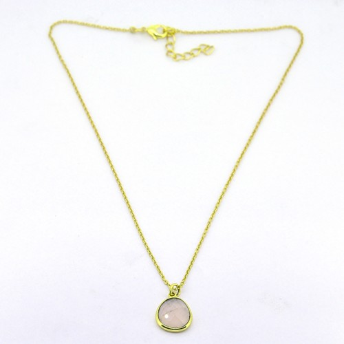Round Shape Rose Quartz Gemstone 925 Sterling Silver Gold Plated Handmade Necklace