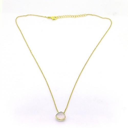 Rose Quartz Pear Shape Gemstone 925 Sterling Silver Gold Plated Designer Necklace