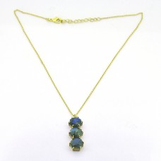 Round Shape Labradorite Gemstone 925 Sterling Silver Gold Plated Designer Necklace