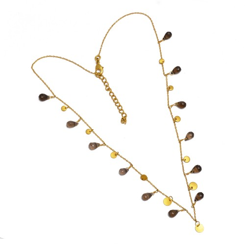 Smoky Quartz Pear Drops Shape Gemstone 925 Sterling Silver Gold Plated Necklace Jewelry