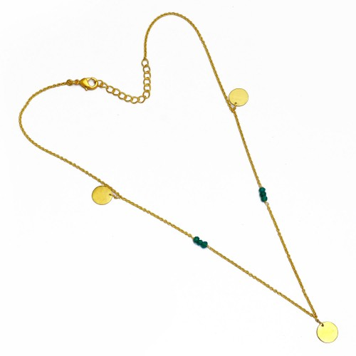 Green Onyx Roundel Beads Gemstone Handcrafted Sterling Silver Gold Plated Necklace Jewelry