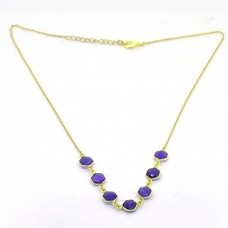 Hexagon Shape Amethyst Gemstone 925 Sterling Silver Gold Plated Bezel Setting Necklace