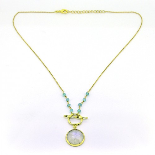 Round Shape Moonstone Chalcedony Gemstone 925 Sterling Silver Gold Plated Necklace