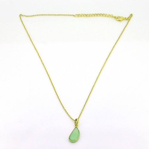925 Sterling Silver Prehnite Chalcedony Fancy Shape Gemstone Gold Plated Necklace