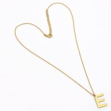 "925 Sterling Silver Alphabet ""E"" Handmade Designer Gold Plated Necklace Jewelry"