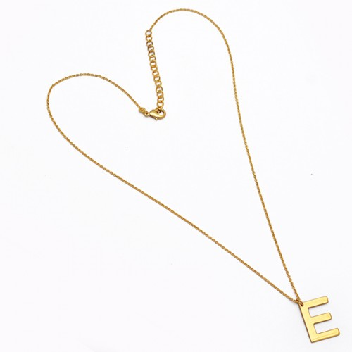 """925 Sterling Silver Alphabet """"E"""" Handmade Designer Gold Plated Necklace Jewelry"""