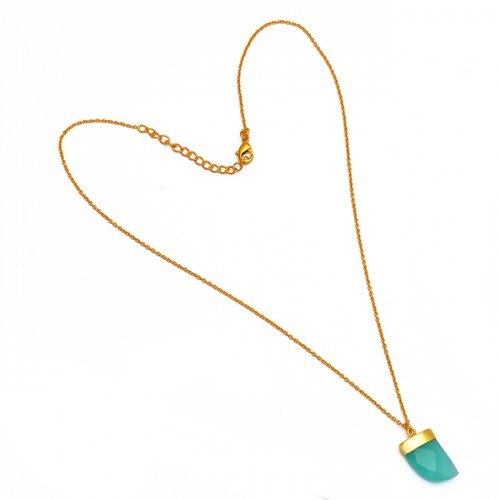 Fancy Shape Aqua Color Chalcedony Gemstone 925 Sterling Silver Gold Plated Necklace