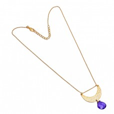 Heart Shape Amethyst Gemstone 925 Sterling Silver Gold Plated Designer Necklace Jewelry