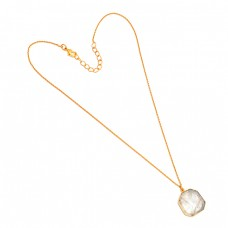 Golden Rutile Quartz Fancy Shape Gemstone 925 Sterling Silver Gold Plated Necklace