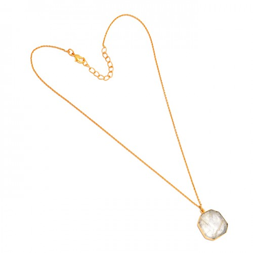 Golden Rutile Quartz Fancy Shape Gemstone 925 Sterling Silver Gold Plated Necklace
