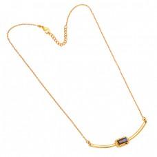 Labradorite Rectangle Shape Gemstone 925 Sterling Silver Gold Plated Designer Necklace