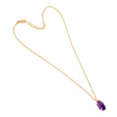 925 Sterling Silver Amethyst Rough Gemstone Handmade Gold Plated Necklace Jewelry