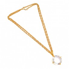 Faceted Round Shape Crystal Quartz Gemstone 925 Sterling  Silver Gold Plated Necklace
