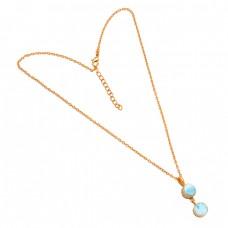 Blue Larimar Round Shape Gemstone 925 Sterling Silver Gold Plated Designer Necklace